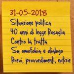 News del 31 maggio 2018